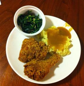 Eating! Chicken, home-made mashed potatoes and spinach.